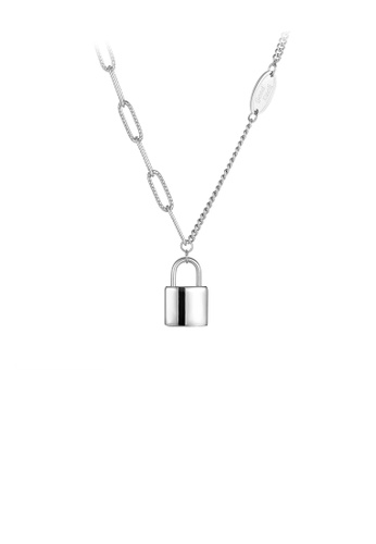 Glamorousky silver Simple and Fashion Lock 316L Stainless Steel Pendant with Necklace 749A6AC0D6A716GS_1