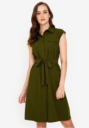 ZALORA WORK green Pocket Detail Shirt Dress 3575BAAC9E9B30GS_1