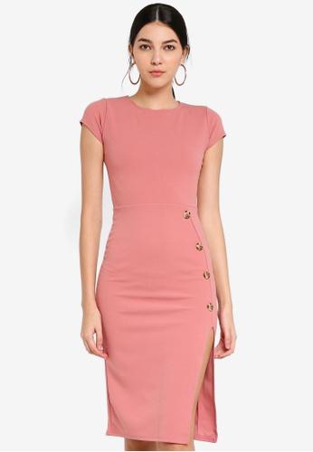 MISSGUIDED 粉紅色 短袖開叉洋裝 ED54FAA93ED3E8GS_1