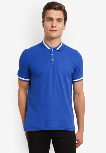 UniqTee blue Slim Fit Bomber Stripe Polo Shirt UN097AA0RS5AMY_1