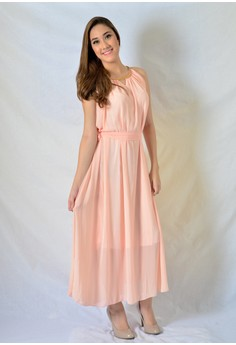 Maxi Chiffon with Gold Necklace