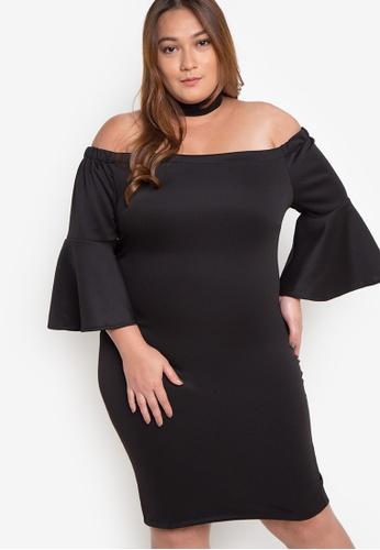 Hug black Plus Size Off The Shoulder Quarter Sleeves Dress HU902AA43OVCPH_1