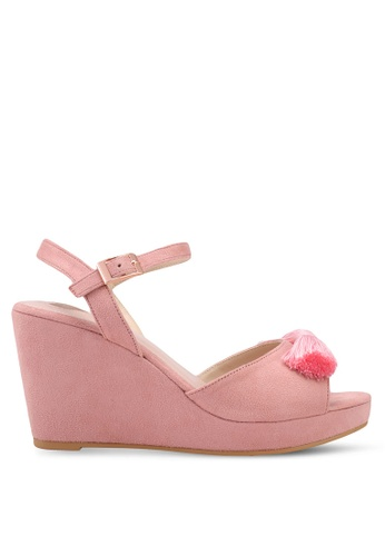 Velvet pink Front Tassel Ankle Strapped Wedges 68D51SHFFE4381GS_1