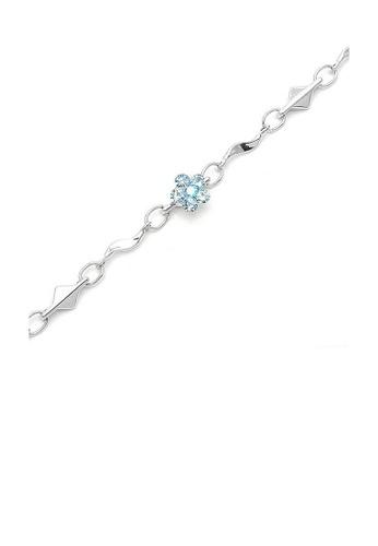 Glamorousky blue Mini Flower Bracelet with Light Blue Austrian Element Crystals 52838AC4894A73GS_1
