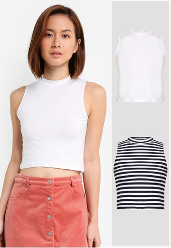 ZALORA BASICS white and multi and navy 2 Pack Essential Mock Neck Tank ZA274AA0JFNTSG_1