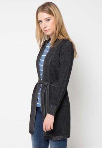 Noir Sur Blanc black Ladies Long Cardigan With Belt NO321AA71GFSID_1