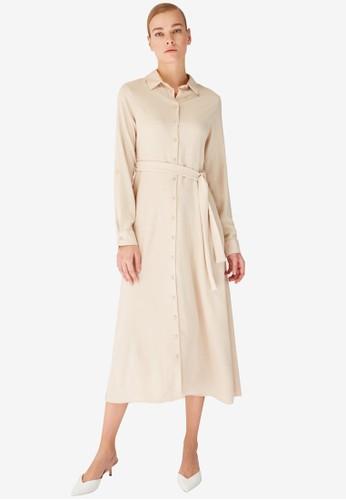 Trendyol beige Beige Midi Shirt Dress 27876AAE59A7BEGS_1