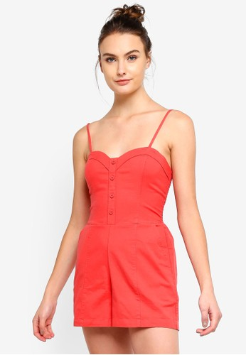 Abercrombie & Fitch red Button Through Romper A8F7AAA4B96036GS_1