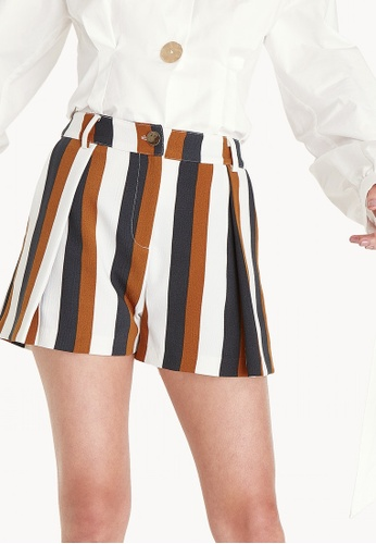 Pomelo brown Foldover Contrast Line Shorts 957E7AAE663A46GS_1