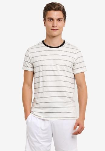 UniqTee white Black Stripe Short Sleeve Tee UN097AA0RS5EMY_1