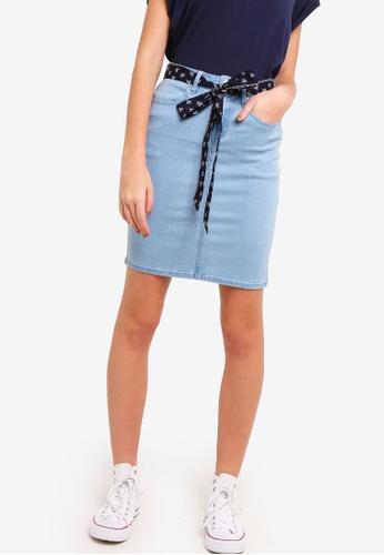 Something Borrowed blue Bandana Tie Fitted Denim Skirt 95134AA35062DFGS_1