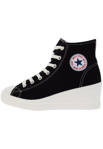 Maxstar 7H 7 Holes Cotton Side Zipper White Platform High Top Sneakers US Women Size MA168SH81DXEHK_1