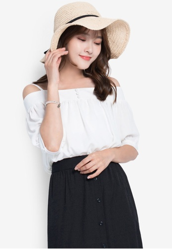 YOCO white Buttoned Blouse with Shoulder Cut-Outs 52330AA1C45A71GS_1