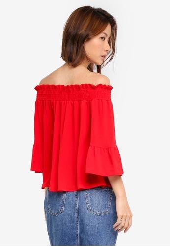 2b3db9f672ec1 Buy Dorothy Perkins Petite Red Shirred Bardot Top Online