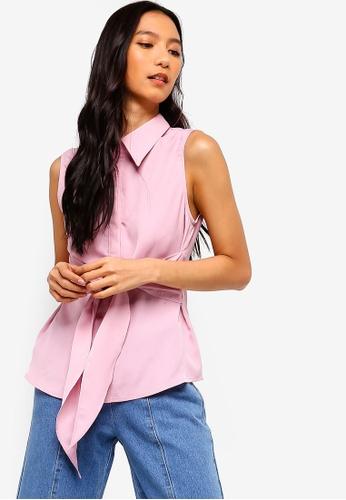 ZALORA 粉紅色 Tie Front Shirt 4306FAAEC8B712GS_1