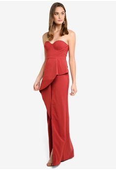 9f9e7db980e Elle Zeitoune red Structured Gown With Folded Waist Band Detail And Front  Split BEF32AA7290170GS 1