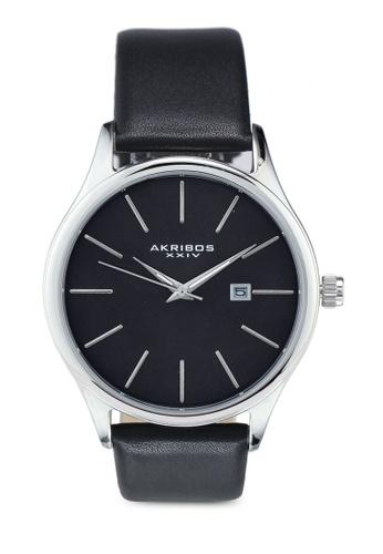 Akribos XXIV black and silver Date Leather Watch 250FFAC95B19F3GS_1