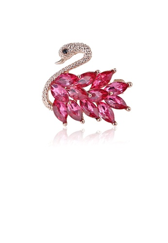 Glamorousky gold Fashion and Elegant Plated Gold Swan Brooch with Rose Red Cubic Zirconia 6E25EAC00ADB95GS_1