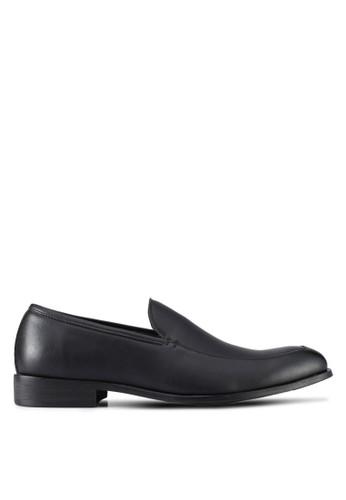 ZALORA black Faux Leather Slip On Dress Shoes D3A7ASH69BE060GS_1