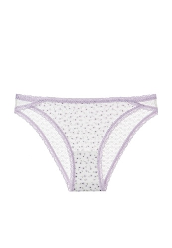 6IXTY8IGHT white and lilac purple BEENA AOP, Floral Mesh Bikini Briefs PT10682 1C0AAUSBC183DDGS_1