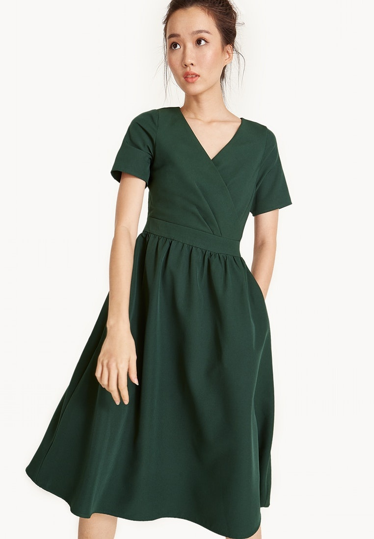 Midi A Green Line Surplice Dress Frill Pomelo x41xwP