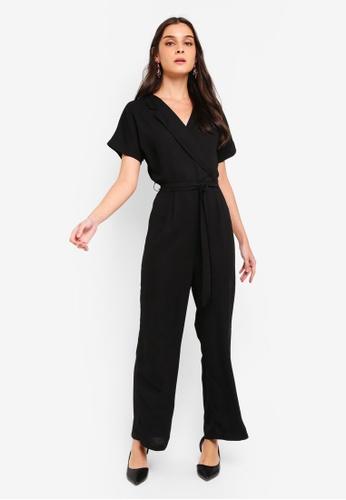 ZALORA black Open Collar Jumpsuit With Tie D5BBFAA2CAAFC2GS_1