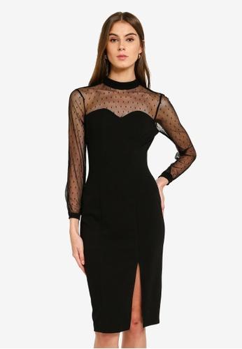 Evening Mesh Panel Bodycon Dress