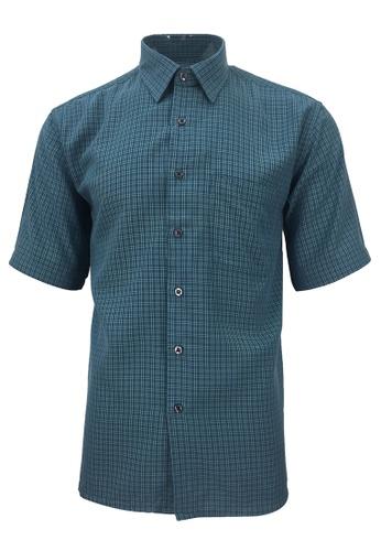 Pacolino green Pacolino - Korea Polynosic Wrinkle Free Checker Formal Casual Short Sleeve Men Shirt F3ABFAA1878003GS_1