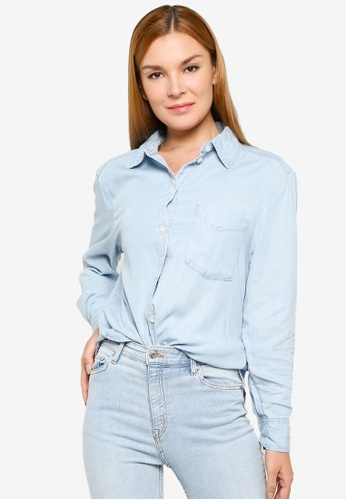 H&M blue Denim Shirt B4B70AAF0ACCC7GS_1
