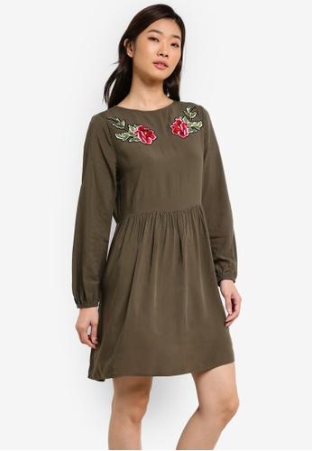 ZALORA green Embroidered Boho Dress 9A78AZZ1B0C4D9GS_1