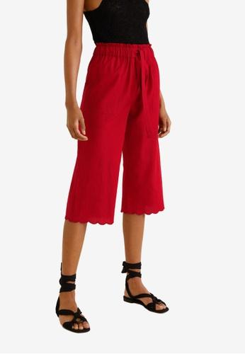 Mango red Straight Cotton Trousers 367AFAA7ECF24CGS_1