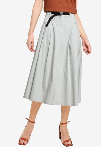 LOWRYS FARM green Belted A-line Skirt C24F7AA0AA594FGS_1