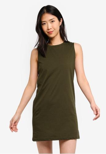ZALORA BASICS green Basic Shift Tank Dress 7A65EAA324CEB5GS_1