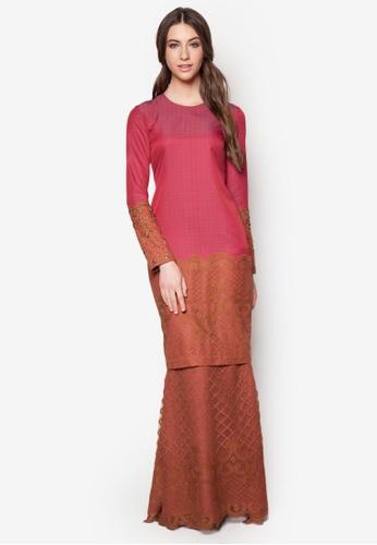 JLuxe red and brown Jazeera Baju Kurung JL022AA22FFXMY_1