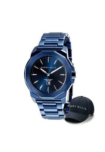 Perry Ellis blue Perry Ellis Decagon Unisex 42mm Quartz Stainless Steel Watch 08008-02 with Perry Ellis Cap 3A10BAC14D466EGS_1