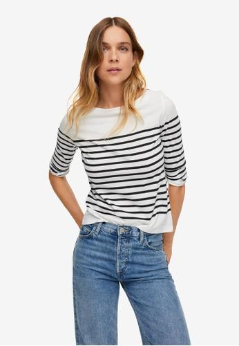 Mango white Stripes Organic Cotton T-Shirt D4923AA2477114GS_1