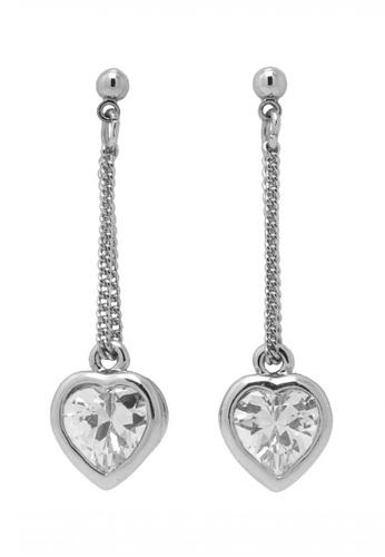 Jaysa Collection silver Silver Austrian Crystals Heart Dangle Earrings JA875AC0FKM2SG_1