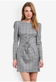 Miss Selfridge  Checked Corset Shift Dress