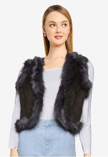 French Connection green Afia Faux Fur Gilet 61DCEAAC60422AGS_1