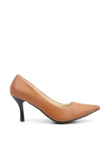 KissXXX 褐色 低反發舒適感美腿效果7CM小尖頭高跟鞋 KI603SH09MPTTW_1