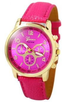 Geneva Sophie Hot Pink Leather Strap Watch