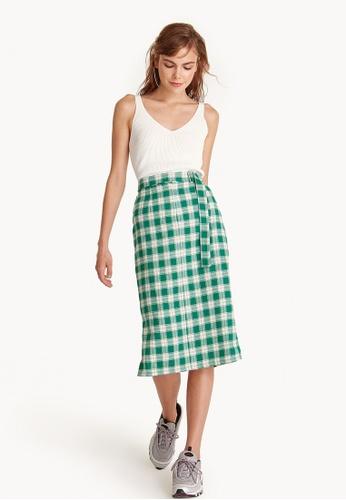 Pomelo green Midi High Waisted Checkered Skirt - Green 17DC4AA6DE4917GS_1