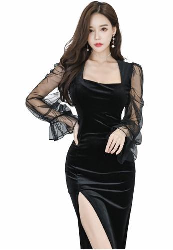 Crystal Korea Fashion black Korean-made velvet black mid-length party dress E3DBAAAA4FABCAGS_1
