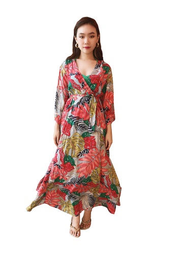 PINK N' PROPER red Delmare Heliconia Long V Neck Beach Dress B1DB1USF627805GS_1