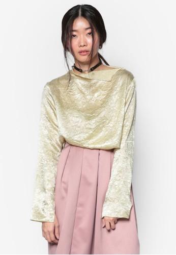 韓式風格亮眼不對稱領口長袖上衣, zalora退貨服飾, 上衣