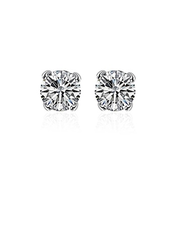 Glamorousky white Fashion Simple Round Cubic Zircon Stud Earrings 9D005AC923D704GS_1