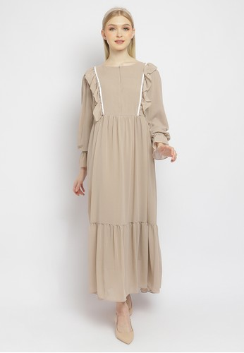 Just Out brown Vicente Ruffle Maxi Dress 8DD60AA98D22D3GS_1