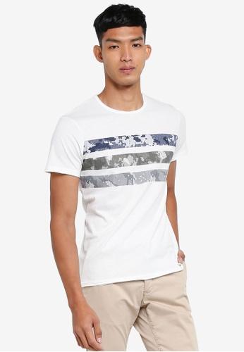 OVS white Printed Stripe T-Shirts C3262AADCA621EGS_1