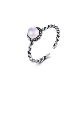 Glamorousky silver 925 Sterling Silver Simple Fashion Geometric Round Pink Imitation Moonstone Adjustable Open Ring 08DA5AC2A878CEGS_1