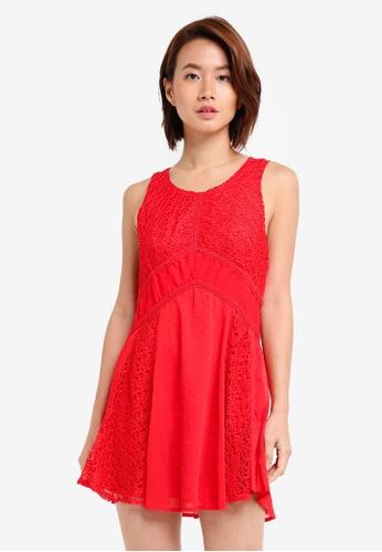 INDIKAH red Lace Skater Dress E0FADAA6A251EEGS_1